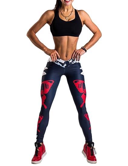 4dd19452c2d1a8 Rachel Charm Womens Yoga Workout Gym Print Sports Pants Leggings Fitness  Stretch Trouser (S,