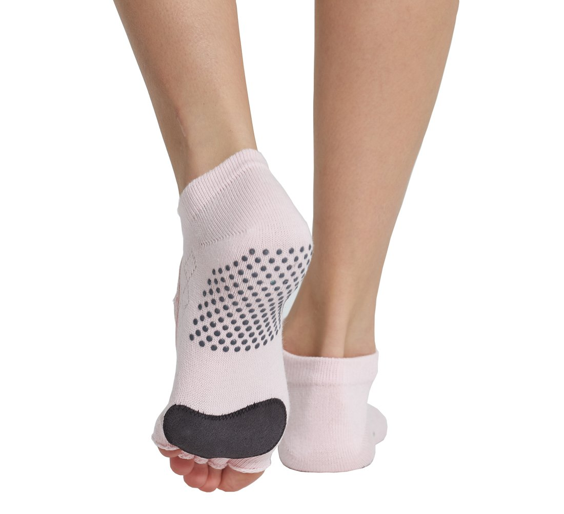 Macohome® Yoga Socks Barre Dance Pilates Toeless Non Skid Exercise Half Toe Cattle Sport Socks with Storage bag (Pink)