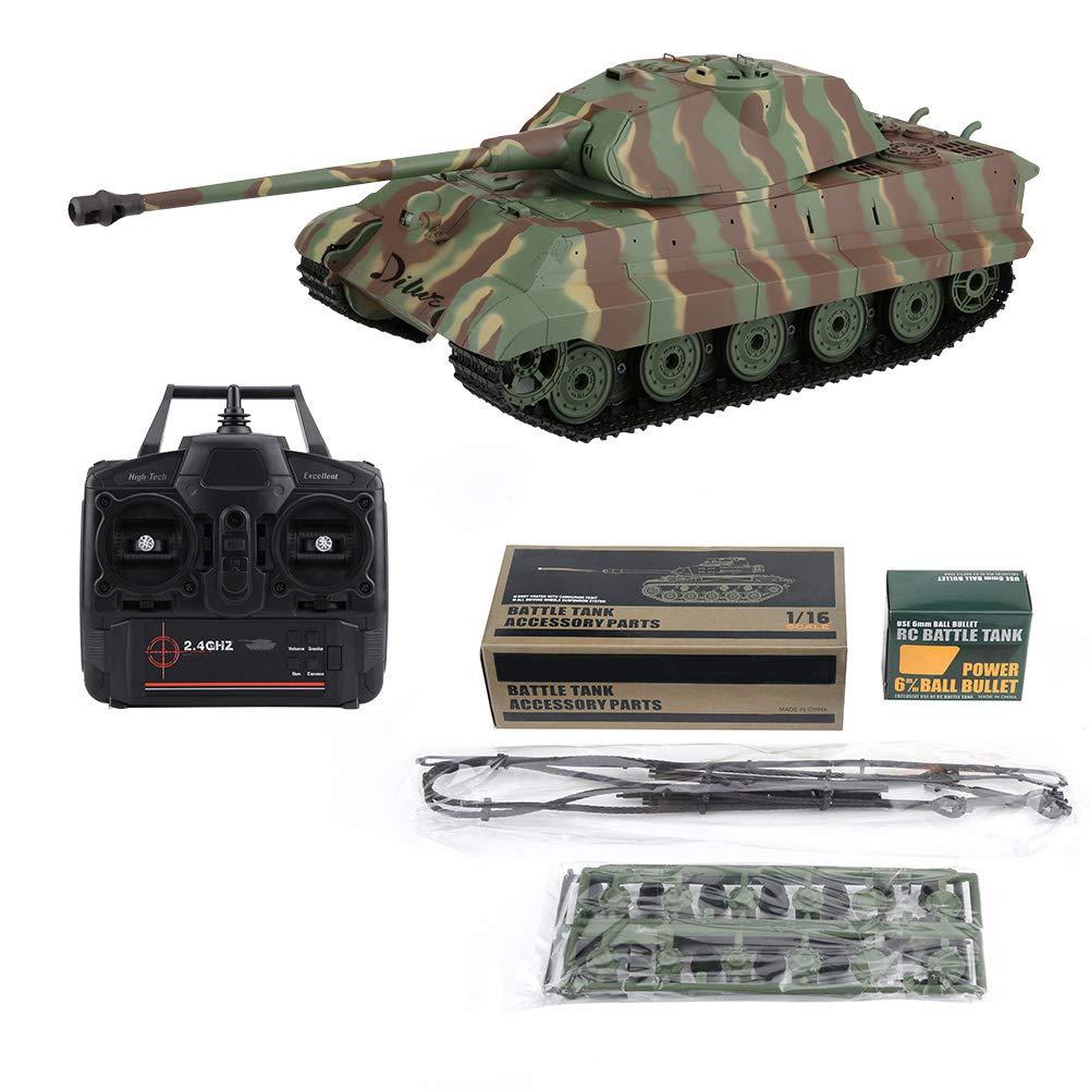 Dilwe Carro Armato RC, 2.4GHz 1 16 Carro Armato di Battaglia dell'Esercito di Simulazione Telecomandata Radiofonica con Torretta Girevole