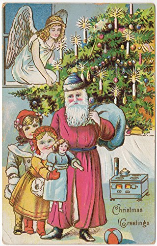 Christmas Postcard Angel Overseeing Santa Claus Children w/ Toys Tree~94579