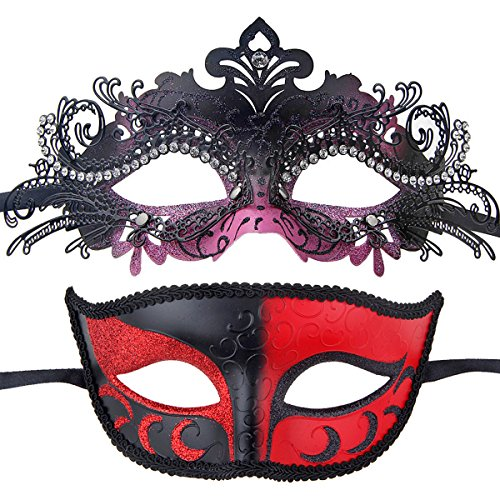 Couples Pair Half Venetian Masquerade Ball Masks Set Party Costume Accessory (black&pink) (Couple Themed Halloween Costumes)