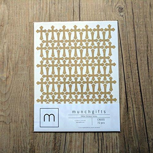 Non Shed Cross Glitter Stickers Set (1.5 inch - 72 pcs, (Cross Sticker)