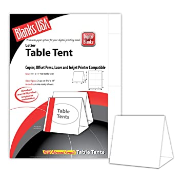 Digital Table Tents - 250 Pack (White)  sc 1 st  Amazon.com & Amazon.com : Digital Table Tents - 250 Pack (White) : Office Products