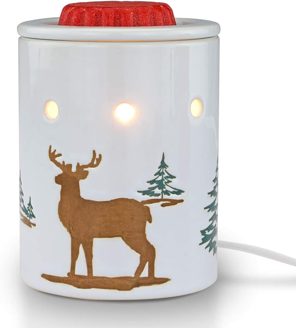STAR MOON Pluggable Fragrance Warmer Wax Melter for Christmas Decoration Home/Dorm/Office No Flame No Smoke No Soot Packaged Together with Two Bulbs-Reindeer in The Snowfield