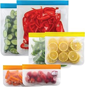 Gorilla Grip Original Premium Reusable Food Storage Bags, 6 Pack, Leakproof Secure Zip Freezer Safe, PEVA Storage Baggies, Includes 2x Each: Snack, Sandwich, Gallon Sized Bag, Fresh Colors Set