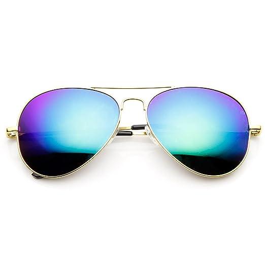 11f29e2e03b9 Classic Metal Teardrop Color Mirror Lens Aviator Sunglasses w Spring Hinges  (Gold Blue