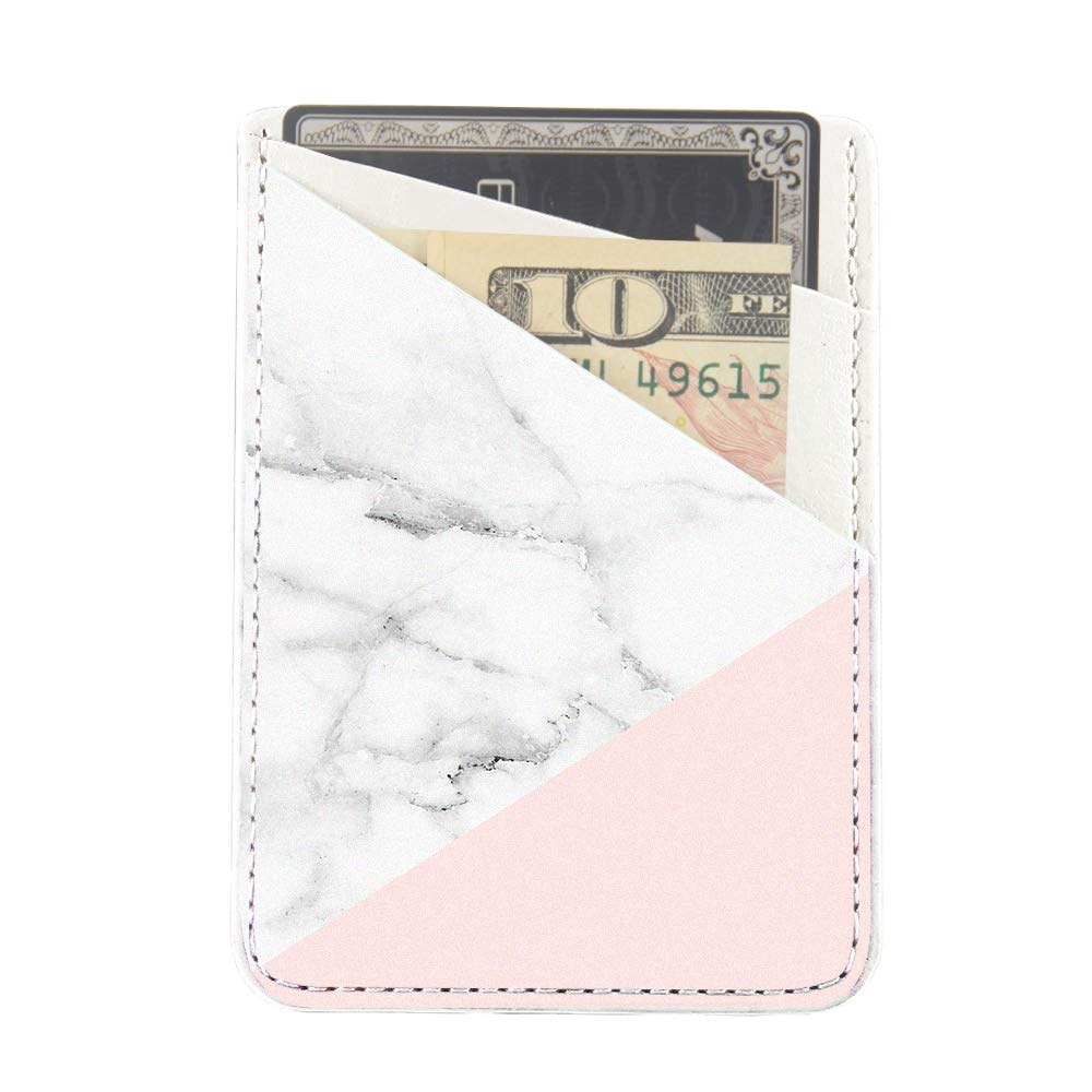 Obbii Baby Pink Marble PU Leather Card Holder for Back of Phone with 3M Adhesive Stick-on Credit Card Wallet Pockets for iPhone and Android Smartphones by Obbii (Image #5)