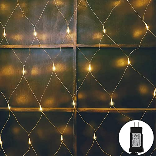 woohaha LED Net Mesh Fairy String Decorative Lights 192 LEDs 9.8ft x 6.6ft with 30V Safe Voltage for Christmas Outdoor Wedding Garden Decorations 192LED, Warm White