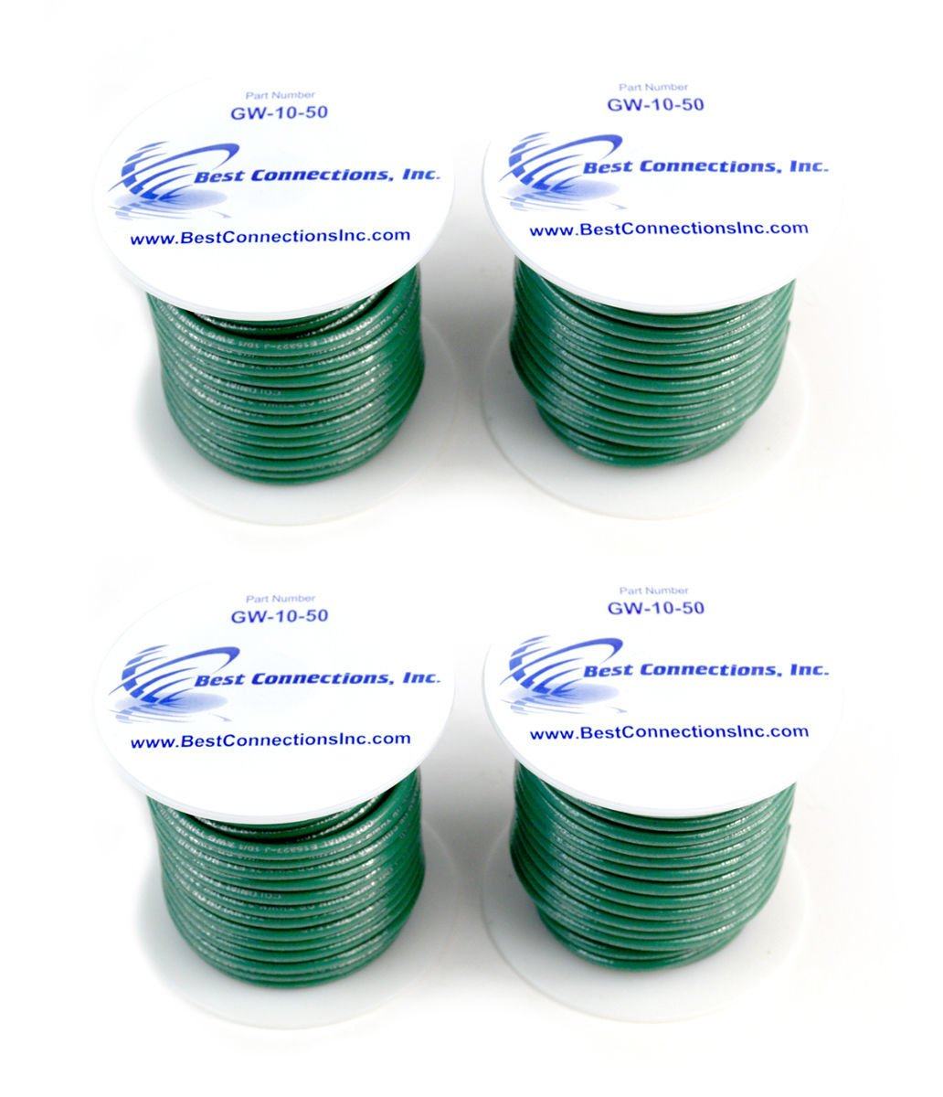 4 rolls of 10 Gauge 50' Feet Green Ground Wire Solid Copper UL Listed