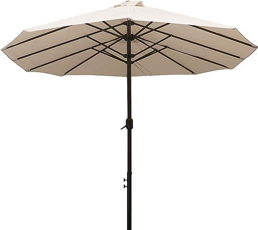 Outsunny Sombrilla Grande 4.6m Parasol Doble Sombrilla Jardín con Manivela Manual Impermeable y Protección Solar UV para Terraza Playa Piscina Patio Acero Tela Poliéster Acero: Amazon.es: Jardín