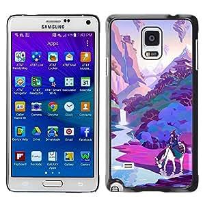 PC/Aluminum Funda Carcasa protectora para Samsung Galaxy Note 4 SM-N910F SM-N910K SM-N910C SM-N910W8 SM-N910U SM-N910 Horse Pink Purple River / JUSTGO PHONE PROTECTOR