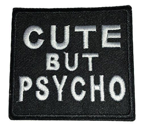 Cute BUT Psycho Patch Funny Saying Text Words Logo Humor Theme Series Embroidered Iron on/Sew on Badge DIY Appliques]()