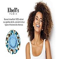Ebell's Paris - Bonnet Chauffant - 100% Naturel aux Graines de Lin tous Types et Textures de Cheveux (bleu)