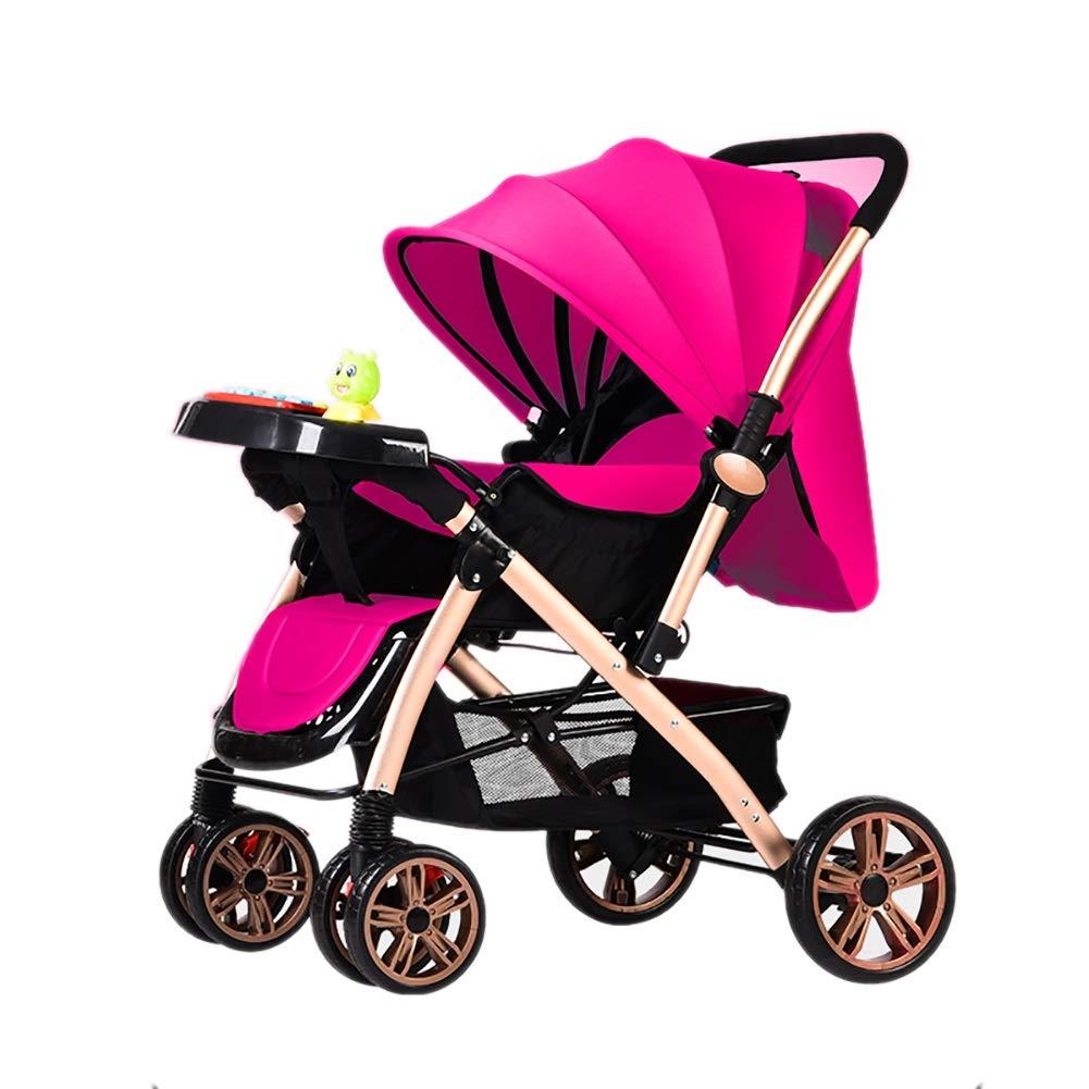 Lll- ベビーベビーカー軽量折りたたみベビーキャリッジ0 / 1-3歳のシンプルなポータブル音楽ラバー - リアホイール子供用トロリーディナープレート付き (色 : ピンク)  ピンク B07QL83Y75