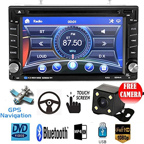 ExGizmo 6.2'' Double 2DIN In Dash GPS Navigation Car DVD Touch Screen Player Bluetooth Auto Stereo Radio + Camera by ExGizmo