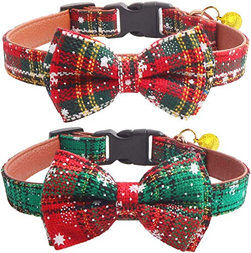 KUDES 2 Pack/Set Christmas Snowflake Dog Collars, Adjutable Dog Collars with Bow Tie and Bells for Small/Medium/Large…