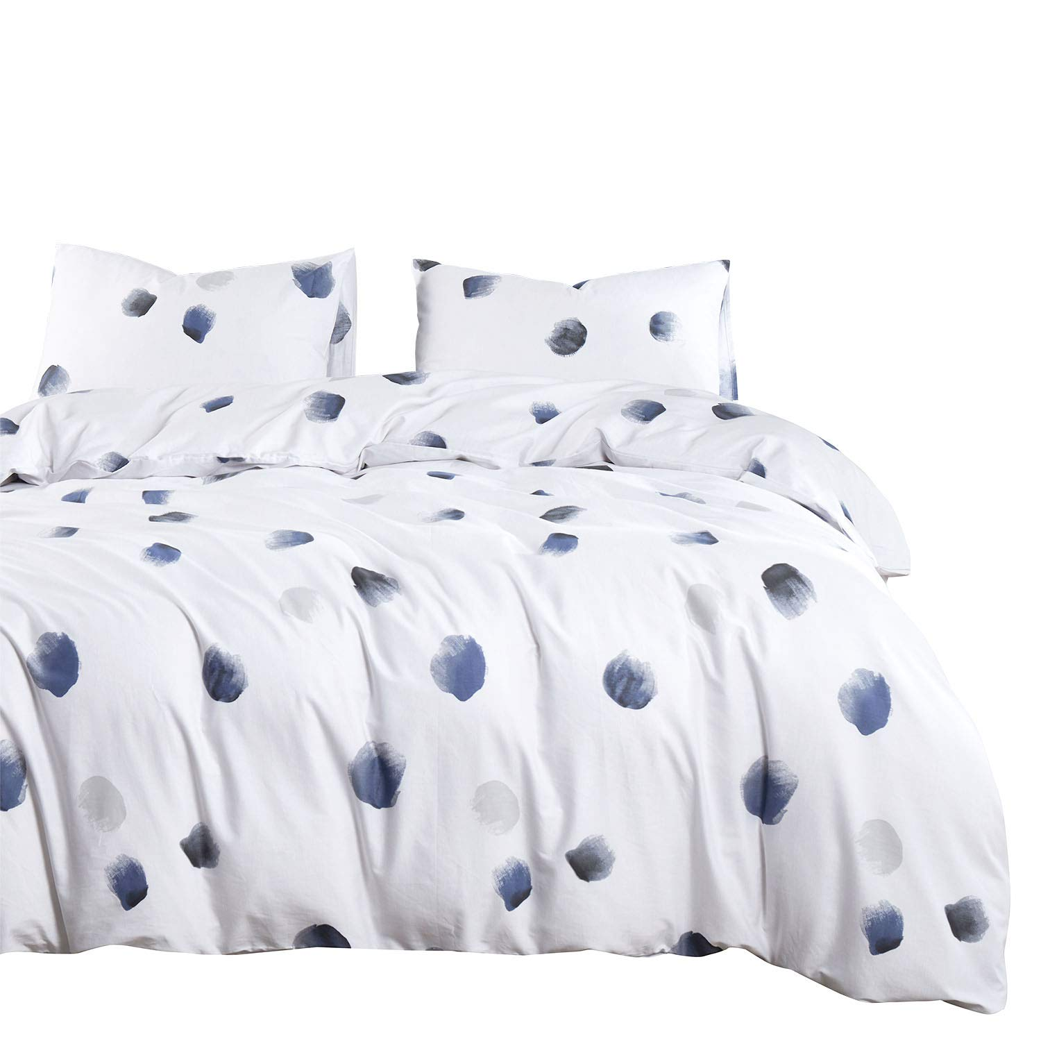 Wake In Cloud Navy Blue And White Duvet Cover Set 100 Cotton
