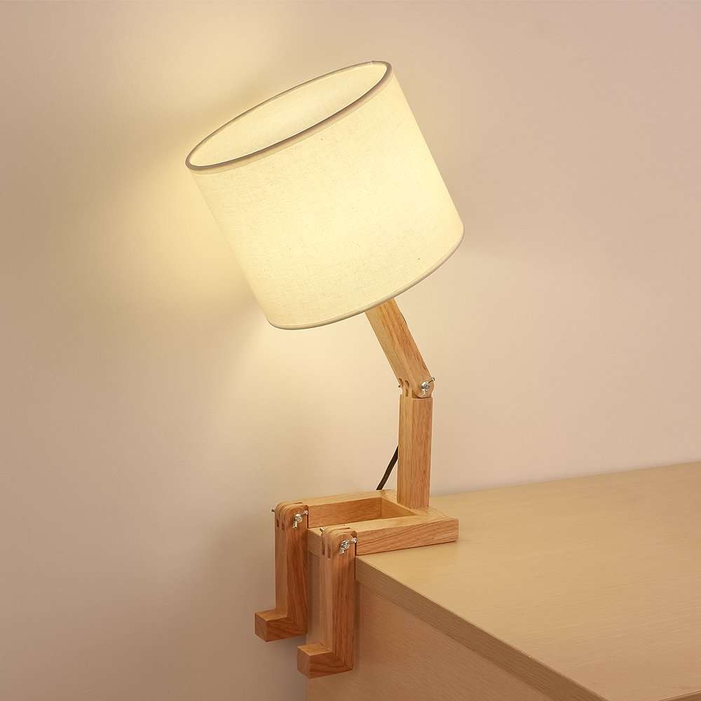 HAITRAL Wooden Table Lamp Adjustable Creative Nightstand Lamp for Bedroom Office Kids