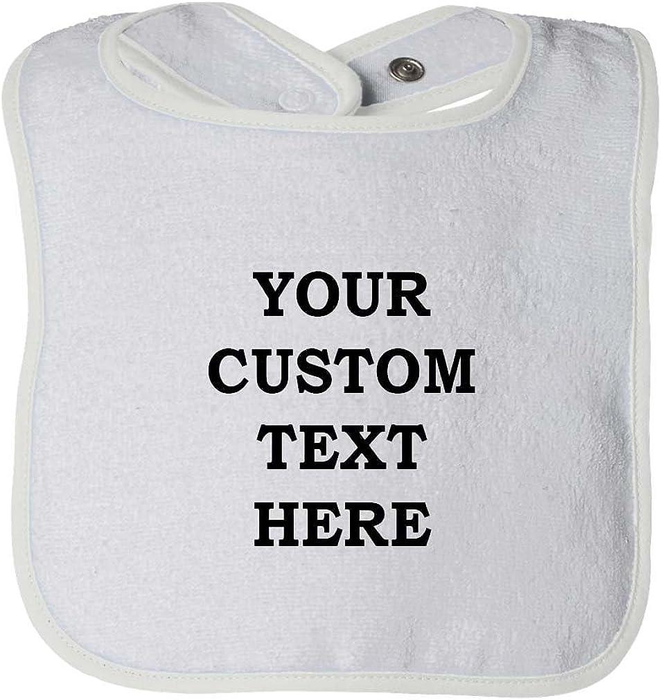 Personalised embroidered baby bib gift bandana boy girl white cotton custom text