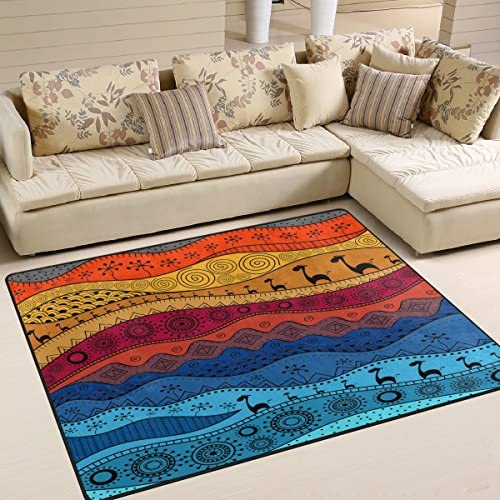 ALAZA African Giraffe Ethnic Tribal Retro Area Rug Rugs for Living Room Bedroom 5 3 x 4