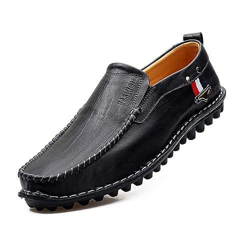 YAN Mocasines Casuales de los Hombres Zapatos Planos Resbalón en Trabajo de Trabajo Formal Cómodo Cuero
