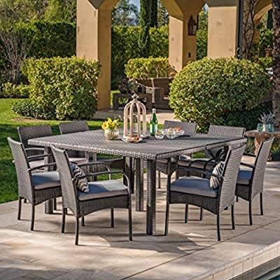 Coral Outdoor 9 Piece Grey Wicker Square Dining Set with Grey Water Resistant Cushions