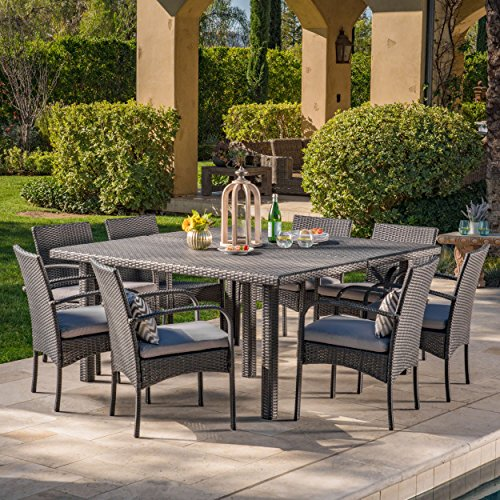 (Christopher Knight Home Coral Outdoor 9 Piece Grey Wicker Square Dining Set with Grey Water Resistant Cushions)