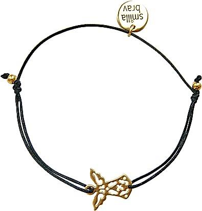 Smilla Brav® Engel Schutzengel Damen Armband Cute Angel schwarzGold KL70