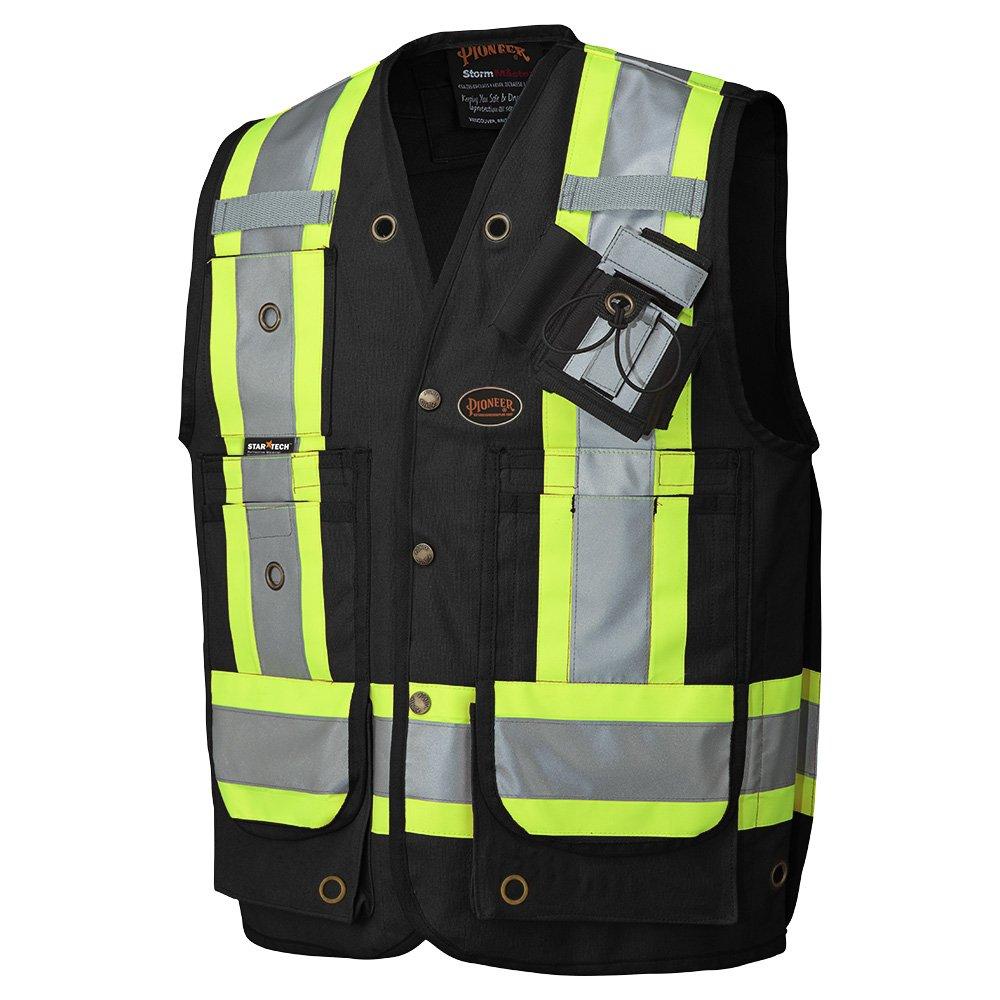 Pioneer V1010670-4XL Construction Reflective Surveyor Safety Vest, Black, 4XL