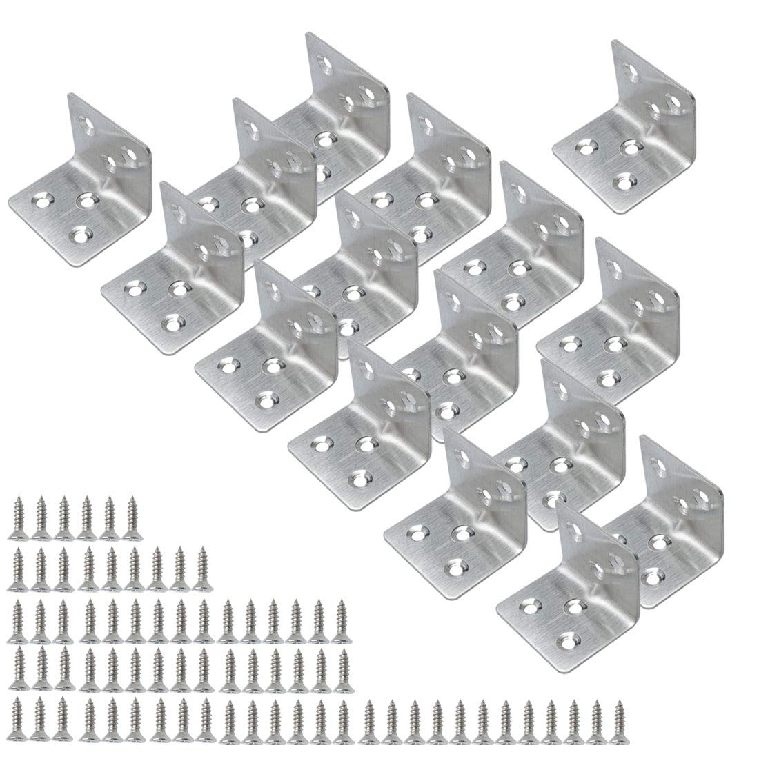 uxcell® 16pcs Angle Bracket Stainless Steel 40x40mm Corner Connection Fastener L Shaped Right Angle Bracket Protector Shelf Support with Screws for Furniture