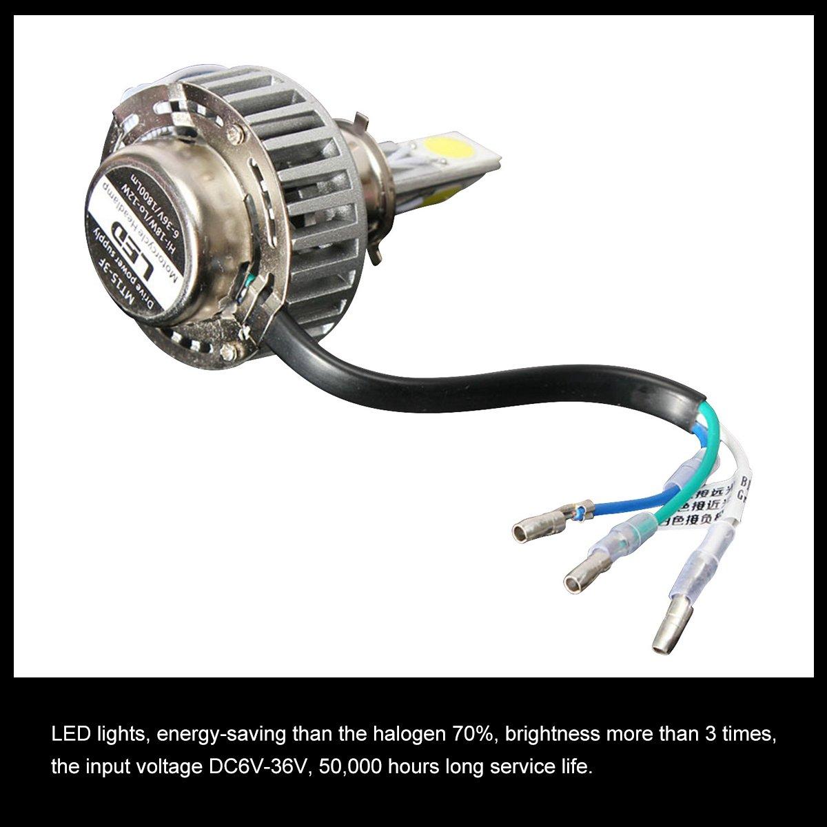 Audew H4 LED Phare Moto Ampoule Avant Feux Avant Lumi/ère 6-36V 12-18W 1800LM 6000K