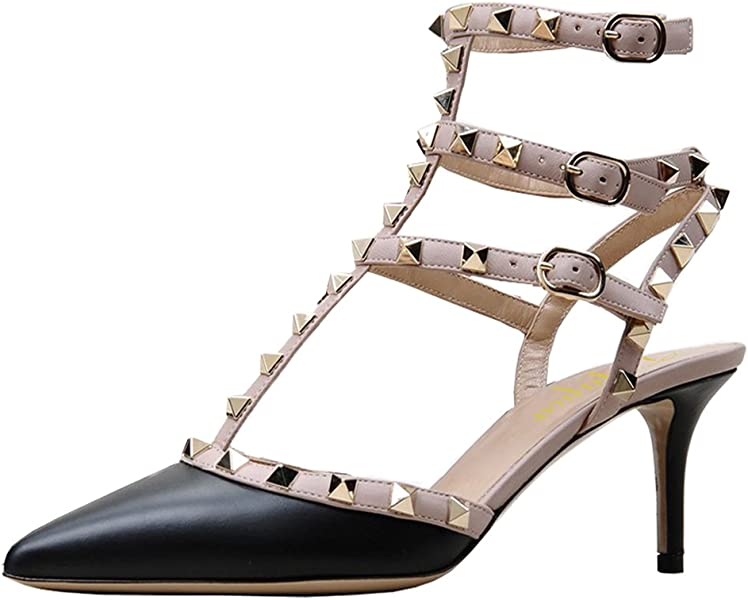 e15fea8e321 Lutalica Women Studded Sandals Pointed Toe Ankle Straps Kitten Heel Shoes  Black Size 10 US