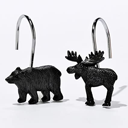 Amazon.com: DS BATH Woodland Black Bear Shower Curtain Hooks,Lodge ...