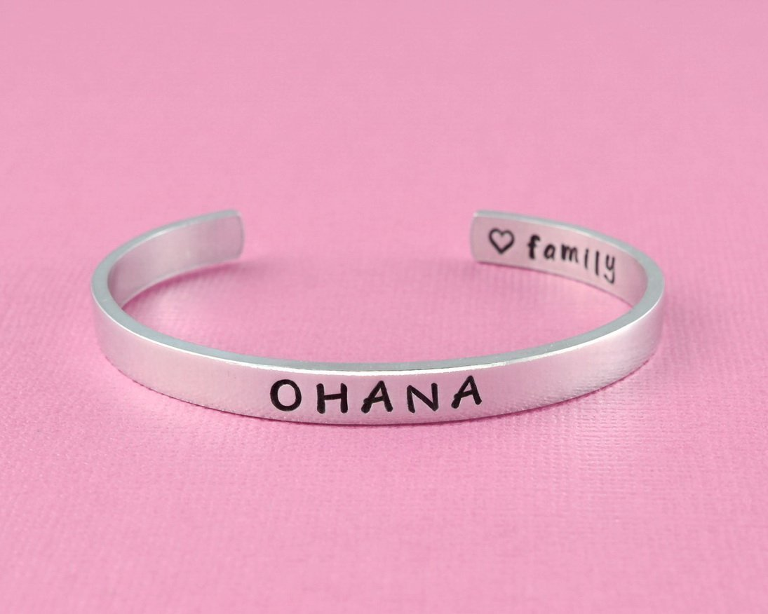 OHANA - Hand Stamped Aluminum Cuff Bracelet, Ohana Means Family, Mom Dad Daughter son Sisters Brothers Gift, Mother's Day Love Gift, Secret Message Hawaiian Word Personalized Gift Mother's Day Love Gift