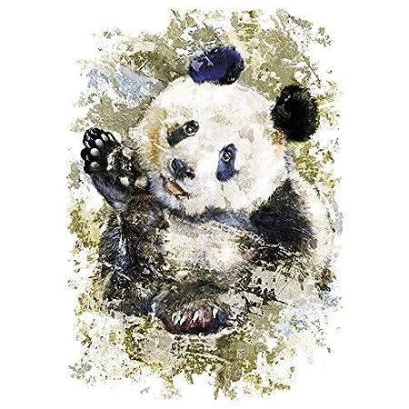 Termoadesivo applicabile con ferro da stiro Motivo: panda Trasferibile a caldo Trasferibile per stirare design artistico Per decorare tessuti come magliette federe borse