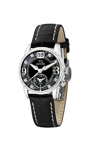 Jaguar Watches J624/C - Reloj analógico de Cuarzo para Mujer con Correa de Piel, Color Negro: Amazon.es: Relojes