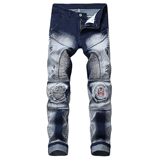 4a5f68a1 NUWFOR Men's Fashion New Printed Individual Jeans Making Old Printed Trousers  Pant(Blue,US