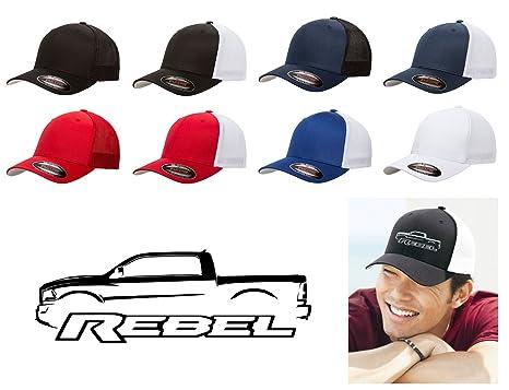 Dodge Ram Rebel Pickup Truck Classic Outline Design Flexfit Trucker Trucker Hat  Cap Black 868d3cd68bed