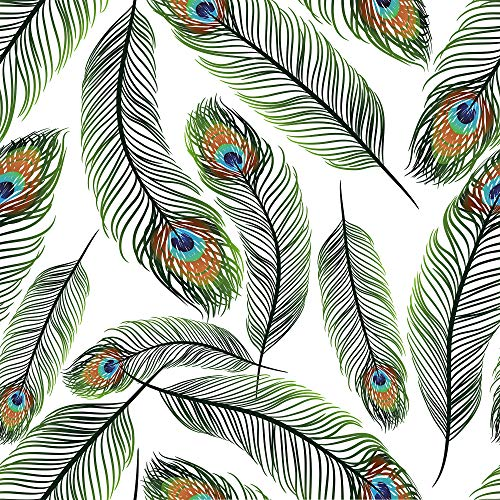 WallsByMe Peel and Stick White and Turquoise Bird Animal Removable Wallpaper 2797-2ft x 10.5ft (61x320cm) - WallFab - 7mil