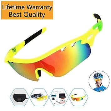 Gafas de sol polarizadas para hacer deporte con 5 pares de lentes intercambiables y varios colores, verde: Amazon.es: Deportes y aire libre