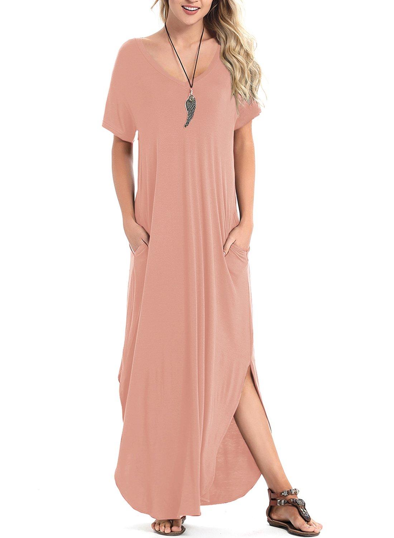 Women's Short Sleeve V Neck Pocket Casual Side Split Beach Long Maxi Dress (Pink, X-Large)