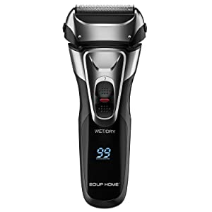 EDUP Electric Razor for Men, 3-Blade Cordless Electric Foil Shaver with Pop-up Trimmer Wet/Dry Convenience LCD Display Waterproof Shaver, Black