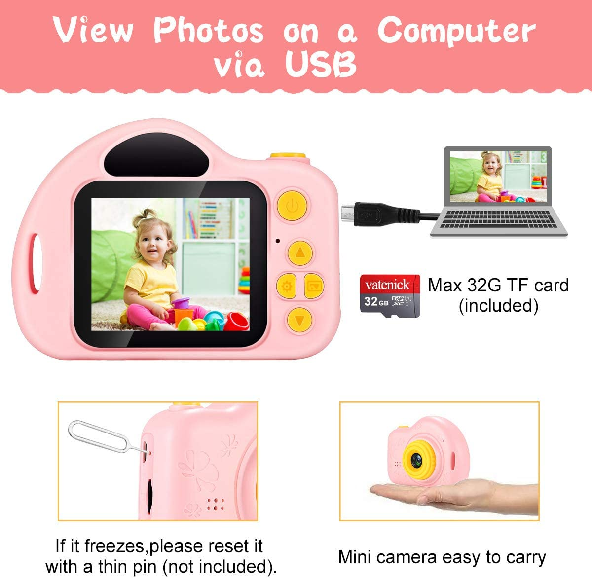 vatenick Kids Camera Toy Children Camera Toy Kids Gift Video Recorder Shockproof 2 inch HD Screen 1080P 32GB TF Card Birthday Gifts Toy for 3 to 12 Years Old Boys and Girls