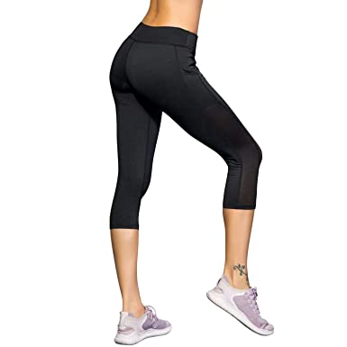 b21c22907ccde1 Amazon.com: Witkey Women Yoga Pants Printed Yoga Leggings High Waist Power  Flex Capris Workout Leggings for Fitness Running: Clothing
