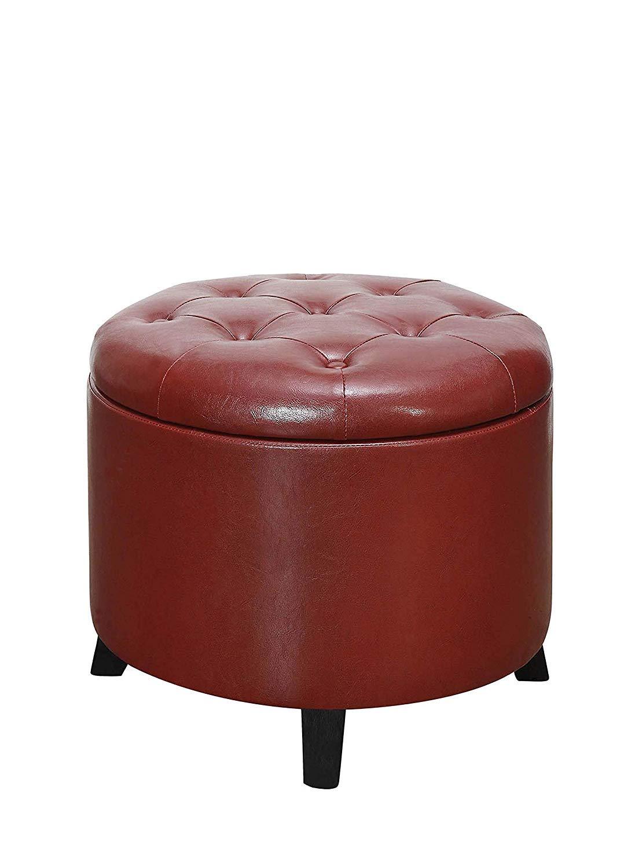 Convenience Concepts 163060BRG Designs4Comfort Round Ottoman, Burgundy Faux Leather,