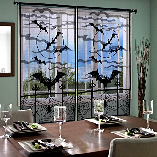 Aytai Halloween Lace Window Panel 84 x 40 inch, Bats Door Curtain Panels, Black Spider Cobweb Curtain for Party Decoration (2pcs curtains)