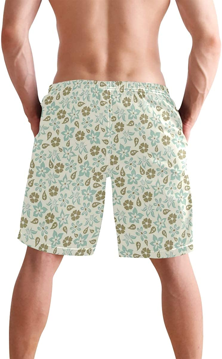 COVASA Mens Summer ShortsSpring Meadow Inspired Pattern with Tulips Daisies Pa