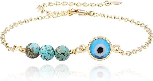 18Kt Yellow Gold Dark Bluer Mini Eye Bracelet 7 inches
