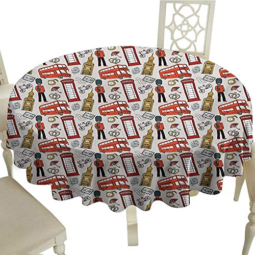 - banquet round tablecloth 60 Inch London,Doodle English Icons Crown London Cab Telephone Booth Watch Big Ben Umbrella Bicycle,Multicolor Suitable for Party,outdoors,Farmhouse,coffee shop,restaurant Mor