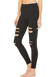 466745cf9d9d8 Ranphee Black Yoga Pants-Women Ripped Elastic Slim Cutout Leggings Workout  Running Capris